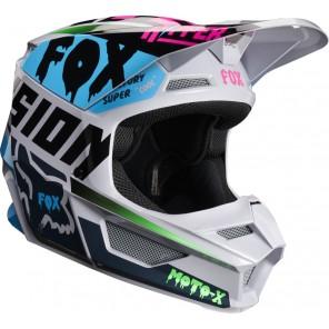 FOX V-1 CZAR kask biało-niebieski