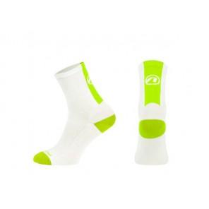Accent Skarpetki kolarskie Stripe, biało-zielone neonow, L (42-44)