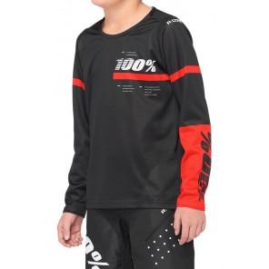 Koszulka juniorska 100% R-CORE Jersey długi rękaw red black