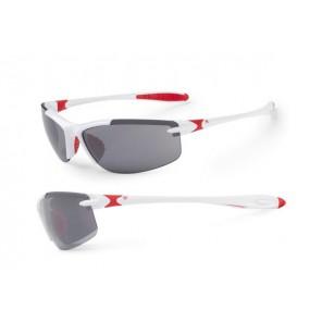 Accent Okulary Tempest białe - czerwone; soczewki PC: szare, przezroczyste
