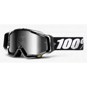 Gogle 100% RACECRAFT ABYSS BLACK (Szyba Srebrna Lustrzana Anti-Fog + Szyba Przezroczysta Anti-Fog + 10 Zrywek)