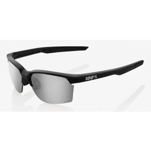 Okulary 100% SPORTCOUPE Matte Black - HiPER Silver Mirror Lens (Szkła Srebrne Lustrzane + Szkła Przeźroczyste)
