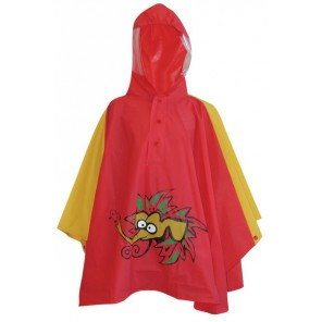 Ponczo dziecięce OLIFANT czerwone z kapturem roz.104