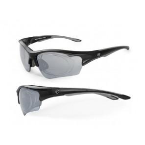 Okulary Wind czarno - grafitowe matowe; soczewki PC: szare lustrzane, przezroczyste przydymione