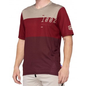 Koszulka męska 100% AIRMATIC Jersey krótki rękaw brick dark red