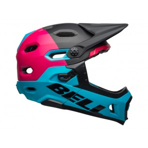 BELL SUPER DH MIPS SPHERICAL unhinged matte gloss black berry blue kask-L