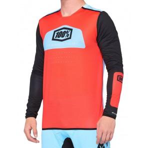 Koszulka męska 100% R-CORE X Jersey długi rękaw fluo red black roz. XL (NEW)