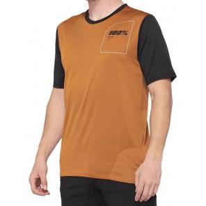 Koszulka męska 100% RIDECAMP Jersey krótki rękaw terracotta black