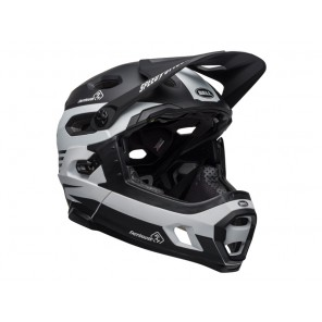 BELL SUPER DH MIPS SPHERICAL fasthouse stripes matte black white kask