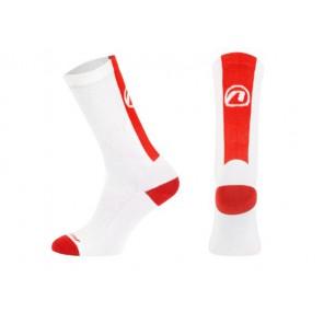 Accent Skarpetki kolarskie Stripe Long, biało-czerwone, XL (45-46)