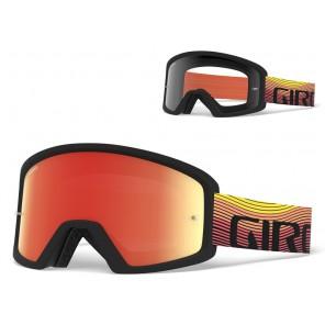 Gogle GIRO BLOK orange heatwave (Szyba kolorowa AMBER xx% S3 + Szyba Przeźroczysta 99% S0) mocowanie pod zrywki +10 zrywek (NEW)