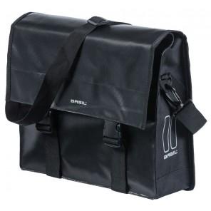 Sakwa Miejska Pojedyńcza BASIL URBAN LOAD MESSENGER BAG 15-17L, mocowanie na haki Hook-On System, wodoodporna plandeka i poliester, czarna (NEW)
