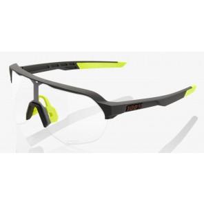 Okulary 100% S2 Soft Tact Cool Grey - Photochromic Lens (Szkła Fotochromatyczne, przepuszczalność światła 16-77%) (NEW)