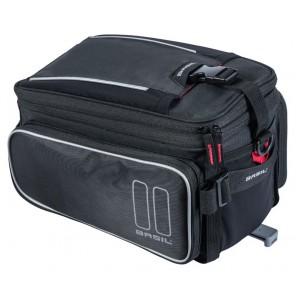 Torba na bagażnik BASIL SPORT DESIGN TRUNKBAG 7-15L, wodoodporny poliester, czarna + Adapter do koszy toreb BASIL MIK ADAPTER PLATE do montażu na bagażniku MIK (NEW)